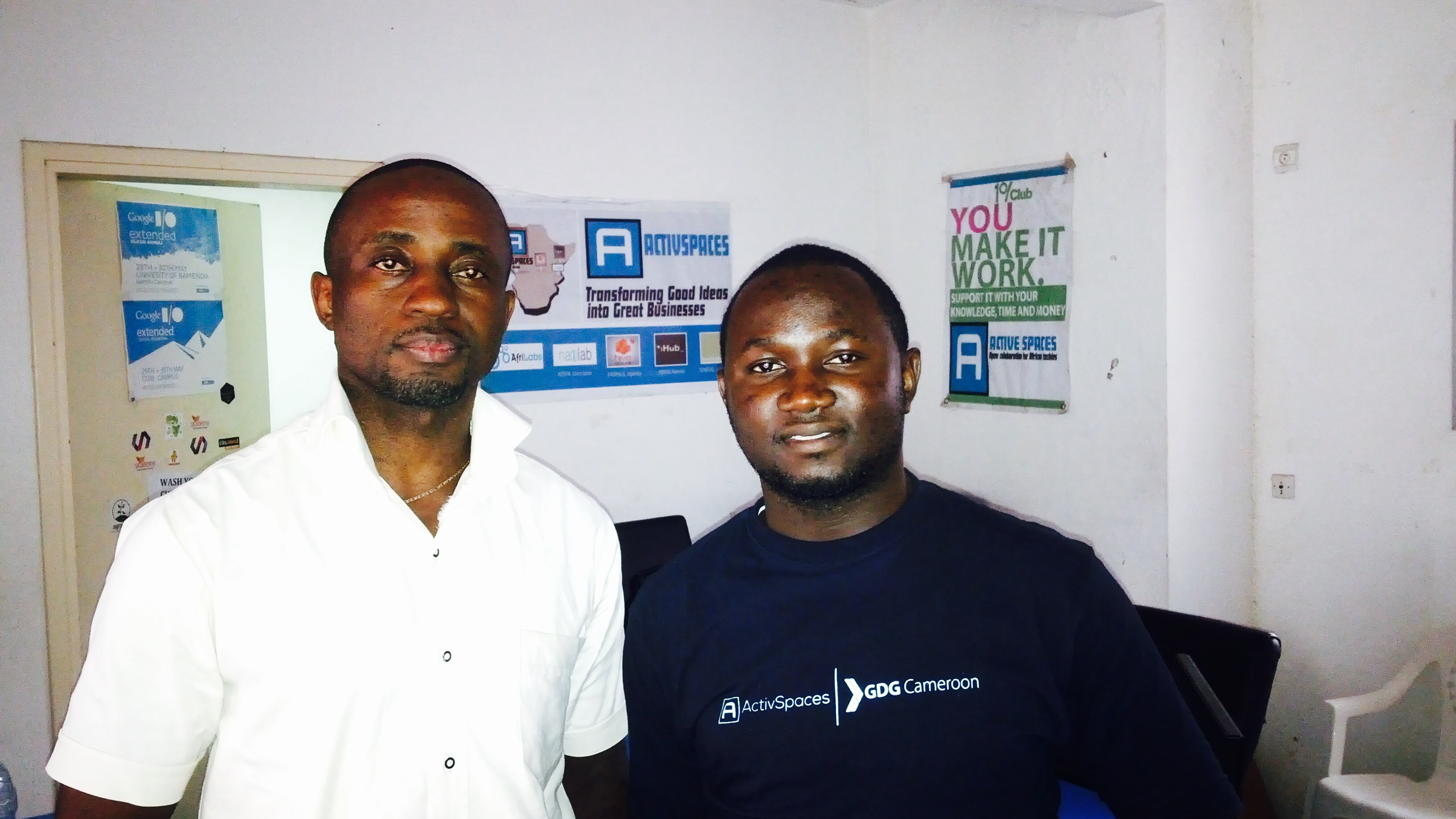 Nchemty OzongAshu (left) - C-Life Country Director - Cameroon; Activespace Community Development Specialist Otto Akama (right)