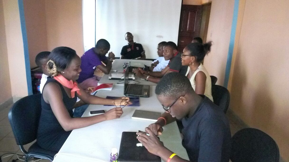 Skylabase team brainstorming in their Buea office